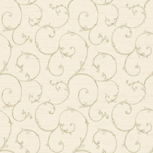 York Wallcoverings Nantucket Cream, Dove Grey, Taupe and Platinum Small Decorative Scroll Wallpaper: Sample Swatch Only