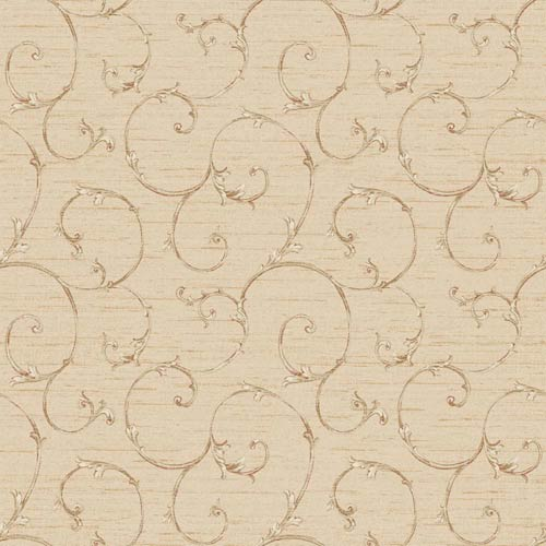 York Wallcoverings Nantucket Pale Peach, Cocoa, Red and Barely Gold Small Decorative Scroll Wallpaper: Sample Swatch Only