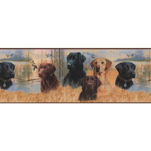 York Wallcoverings Inspired by Color Multi-Colored Working Dogs Border Wallpaper