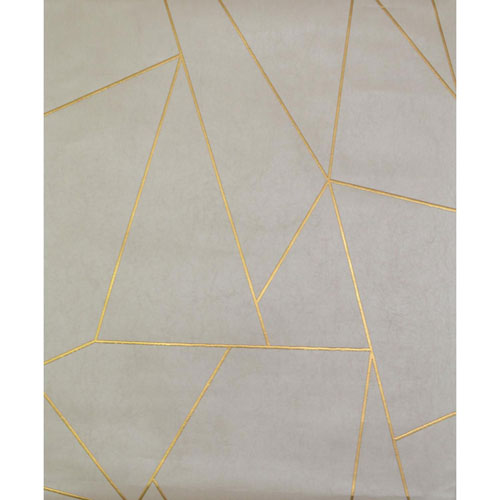 York Wallcoverings Antonina Vella Modern Metals Nazca Almond and Pearl Wallpaper - SAMPLE SWATCH ONLY
