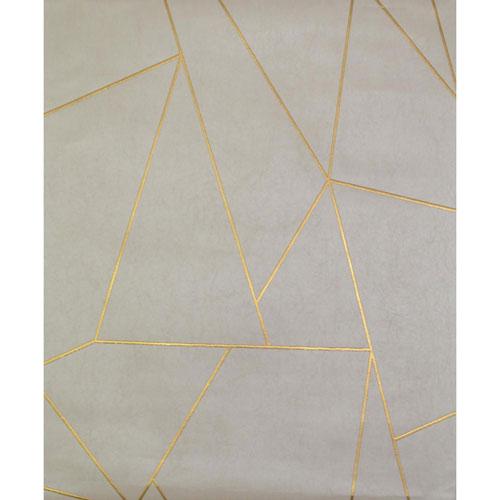 York Wallcoverings Antonina Vella Modern Metals Nazca Almond and Pearl Wallpaper