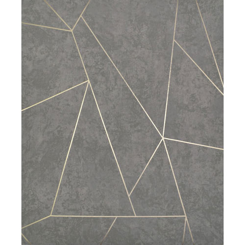 York Wallcoverings Antonina Vella Modern Metals Nazca Dark Grey and Gold Wallpaper - SAMPLE SWATCH ONLY