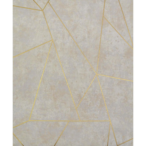 York Wallcoverings Antonina Vella Modern Metals Nazca Neutral and Gold Wallpaper