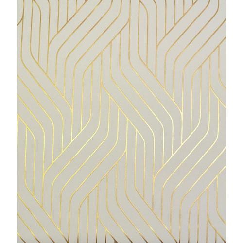 Antonina Vella Modern Metals Ebb And Flow Almond and Gold Wallpaper