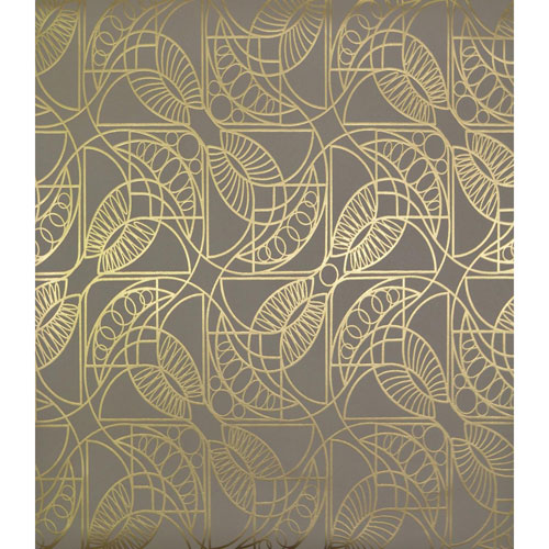 York Wallcoverings Antonina Vella Modern Metals Cartouche Khaki and Gold Wallpaper