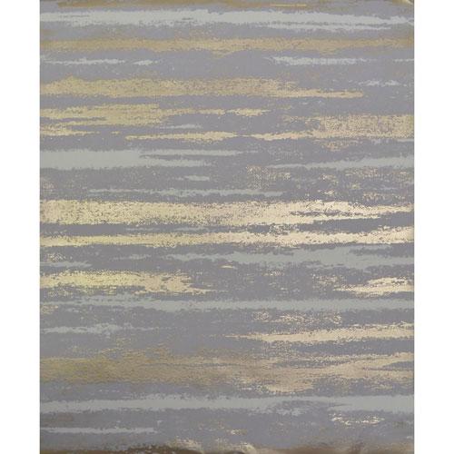 York Wallcoverings Antonina Vella Modern Metals Atmosphere Grey and Gold Wallpaper