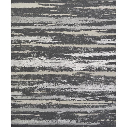 York Wallcoverings Antonina Vella Modern Metals Atmosphere Black and Silver Wallpaper - SAMPLE SWATCH ONLY