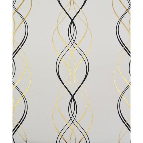 Antonina Vella Modern Metals Aurora Black, White and Gold Wallpaper