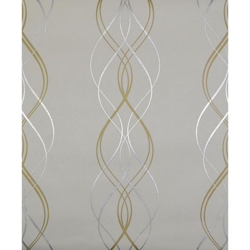 York Wallcoverings Antonina Vella Modern Metals Aurora Pearl and Gold Wallpaper - SAMPLE SWATCH ONLY