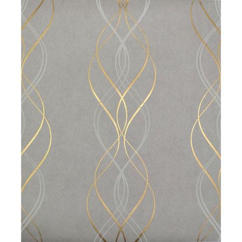 Antonina Vella Modern Metals Aurora Grey and Gold Wallpaper