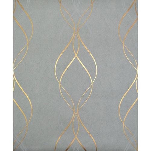 York Wallcoverings Antonina Vella Modern Metals Aurora Blue and Gold Wallpaper - SAMPLE SWATCH ONLY