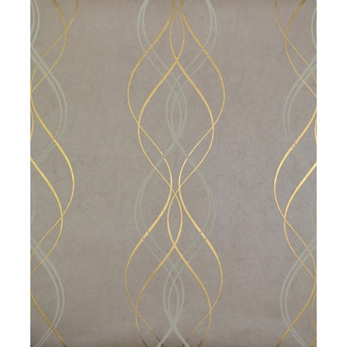 Antonina Vella Modern Metals Aurora Khaki and Gold Wallpaper