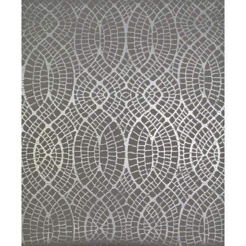 York Wallcoverings Antonina Vella Modern Metals Tortoise Grey and Silver Wallpaper - SAMPLE SWATCH ONLY