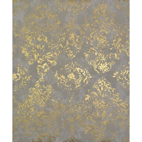 York Wallcoverings Antonina Vella Modern Metals Stargazer Khaki and Gold Wallpaper