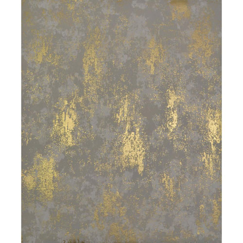Antonina Vella Modern Metals Nebula Khaki and Gold Wallpaper