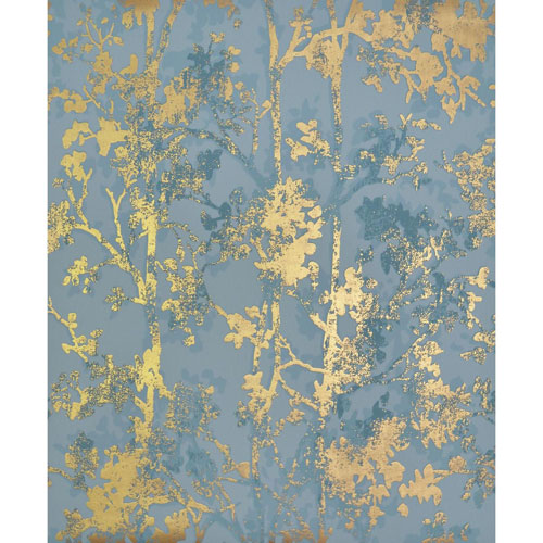 York Wallcoverings Antonina Vella Modern Metals Shimmering Foliage Blue And Gold Wallpaper