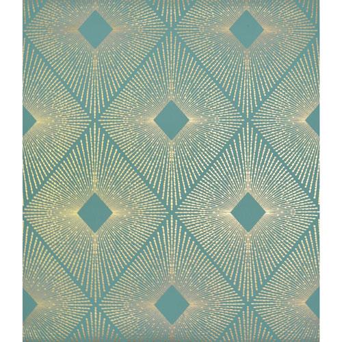 York Wallcoverings Antonina Vella Modern Metals Harlowe Teal and Gold Wallpaper