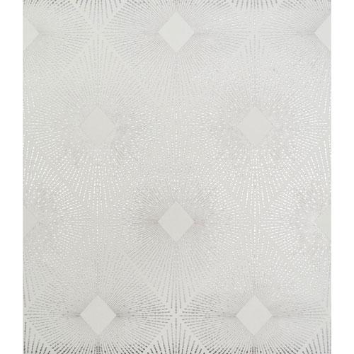 Antonina Vella Modern Metals Harlowe White and Silver Wallpaper