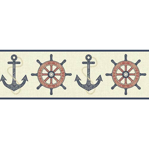Nautical Living Red and Beige Nautical Spot Border