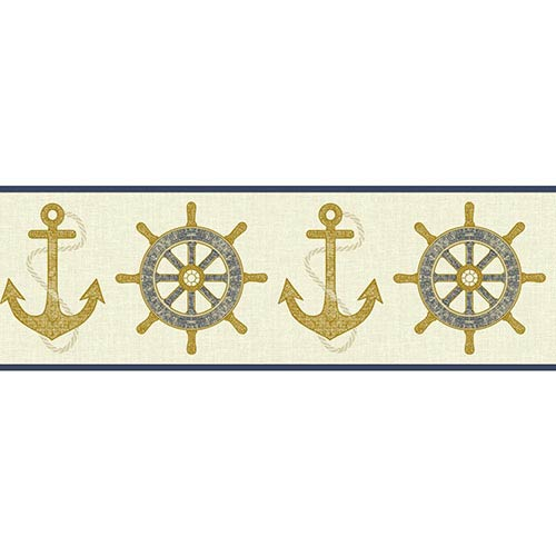 Nautical Living Cream and Beige Nautical Spot Border