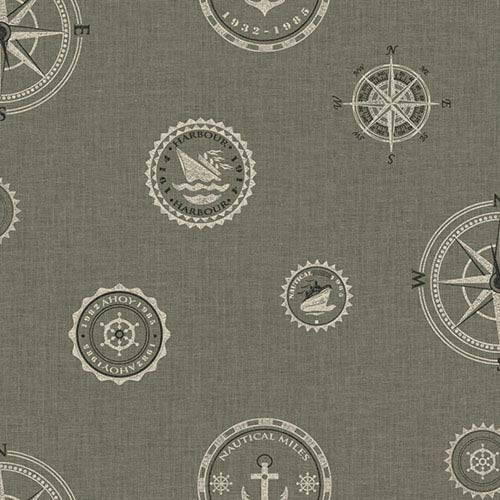 York Wallcoverings Nautical Living Pewter and Rich Cream Nautical Spot Wallpaper: Sample Swatch Only