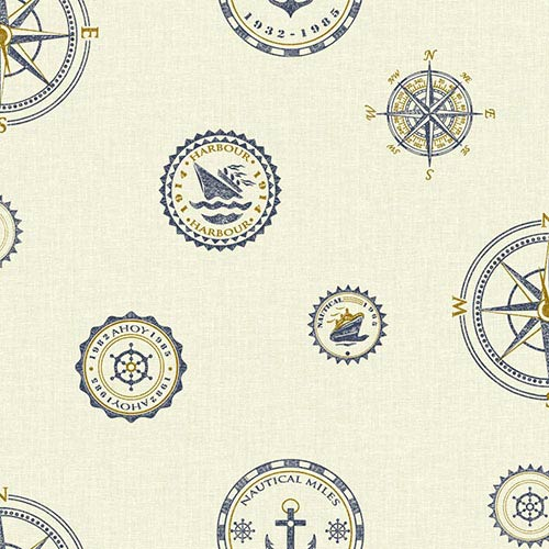 Nautical Living Cream and Beige Nautical Spot Wallpaper