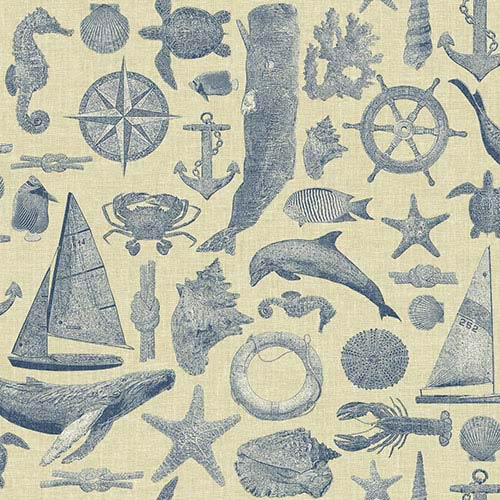York Wallcoverings Nautical Living Ecru and Shades of Marine Blue Maritime Wallpaper: Sample Swatch Only