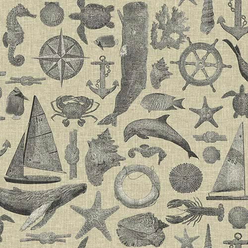 Nautical Living Ecru and Grey Maritime Wallpaper
