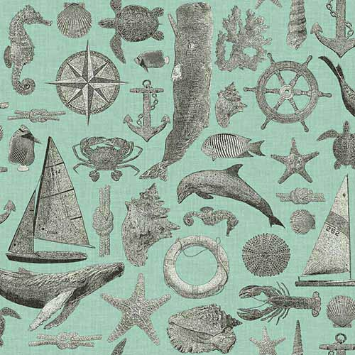 York Wallcoverings Nautical Living Grey Maritime Wallpaper
