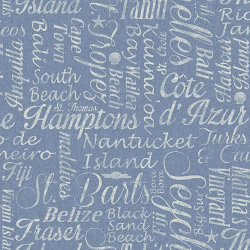York Wallcoverings Nautical Living Chambray Blue and Bluish White Luxury Beaches Wallpaper: Sample Swatch Only
