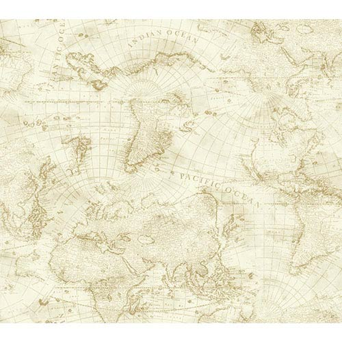 York Wallcoverings Nautical Living Cream and Beige Coastal Map Wallpaper