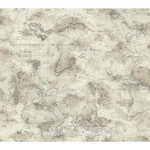 York Wallcoverings Nautical Living Cream and Ecru Coastal Map Wallpaper: Sample Swatch Only