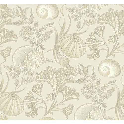 York Wallcoverings Nautical Living Shimmering Cream and Ecru Coral Shells Wallpaper