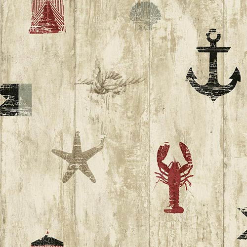 York Wallcoverings Nautical Living Red and Black Weathered Seashore Wallpaper: Sample Swatch Only