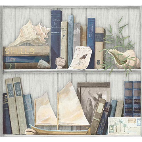 York Wallcoverings Nautical Living Brown and Green Coastal Library Wallpaper: Sample Swatch Only