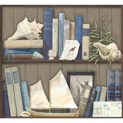 York Wallcoverings Nautical Living Grey and Green Coastal Library Wallpaper