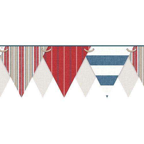 Nautical Living Multicolor Striped Pennant Border