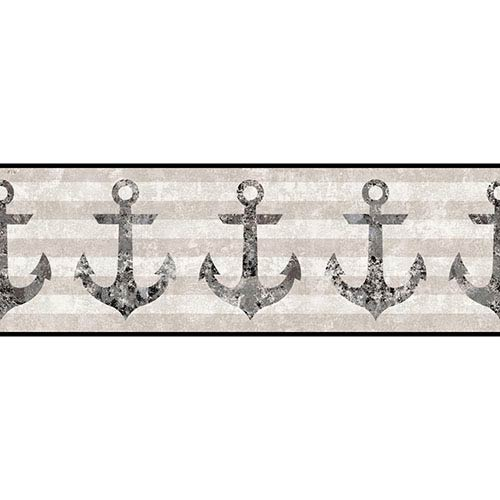 York Wallcoverings Nautical Living Black and Silver Streak Anchors Away Border