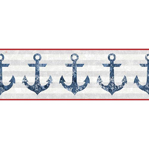 York Wallcoverings Nautical Living Smoky Blue and White Anchors Away Border