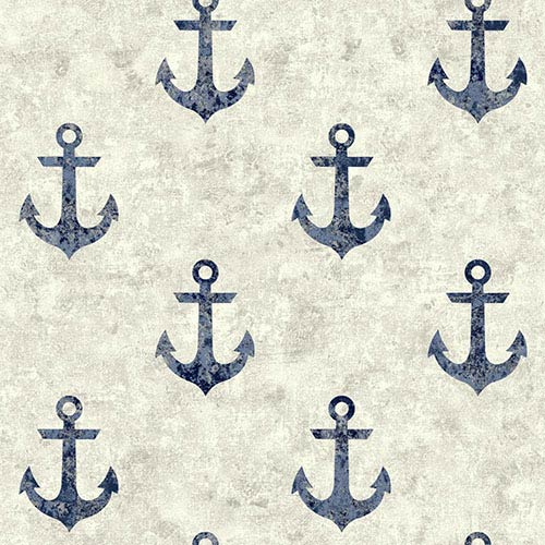 York Wallcoverings Nautical Living White and Navy Blue Anchor Away Wallpaper: Sample Swatch Only