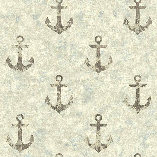 Nautical Living Brown and Aged Silver Sheen Anchor Away Wallpaper: Sample Swatch Only
