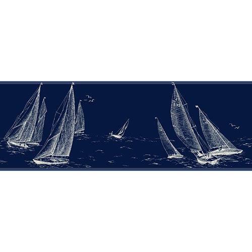 Nautical Living Marine Blue and White Sailboat Border