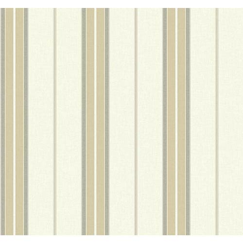 York Wallcoverings Nautical Living Beige and Medium Grey Bay Stripe 2 Wallpaper