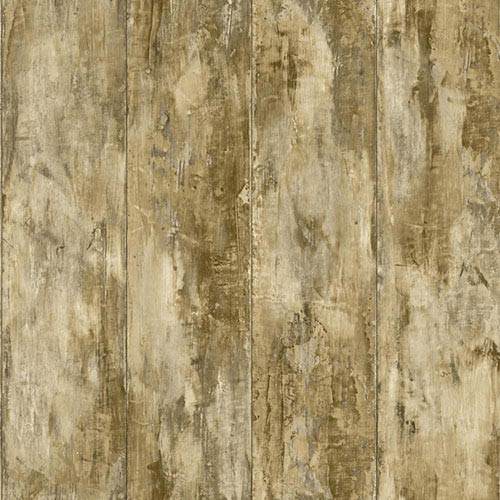 Nautical Living Ecru and Tan Painted Wood Planks Wallpaper