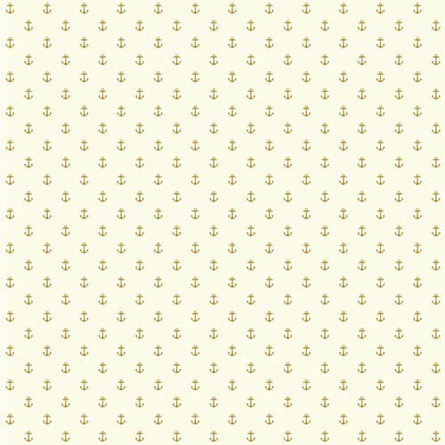 York Wallcoverings Nautical Living Cream and Gleaming Gold Anchor Spot Wallpaper: Sample Swatch Only