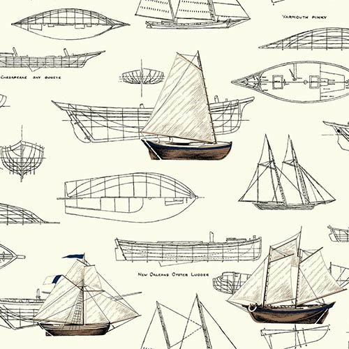 Nautical Living White and Black Pond Yachts Wallpaper