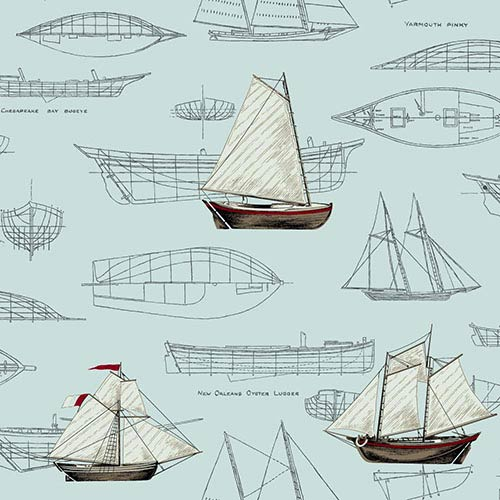 York Wallcoverings Nautical Living Aquamarine and Dark Grey Pond Yachts Wallpaper: Sample Swatch Only
