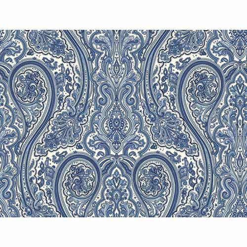 York Wallcoverings Nautical Living Medium Blue and Black Paisley Wallpaper