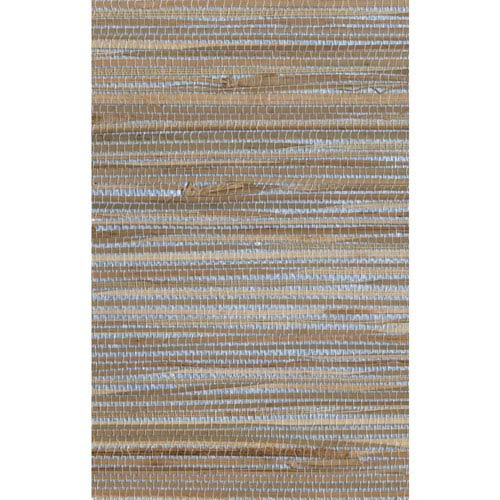 Ronald Redding Designer Resource Metallic Silver and Tan Grasscloth Bamboo Wallpaper