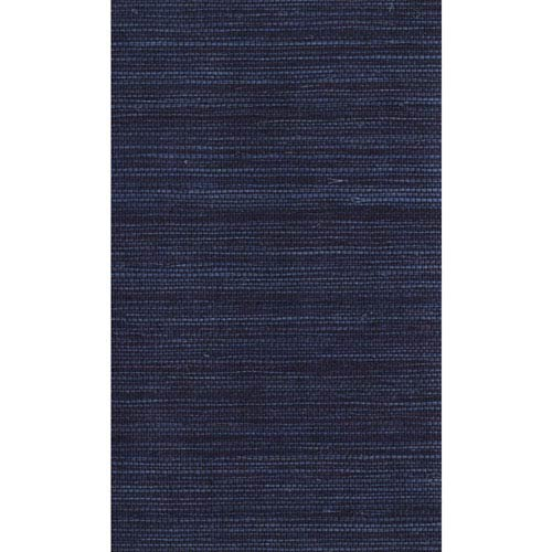 York Wallcoverings Ronald Redding Designer Resource Blue and Dark Purple Grasscloth Petite Sisal Wallpaper